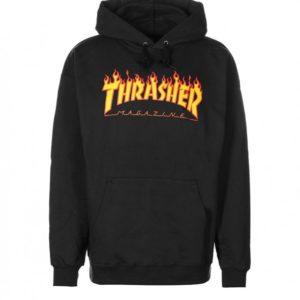 THRASHER FLAME FELPA HOODIE (BLACK)