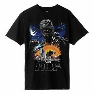 T-SHIRT HUF / GODZILLA TOUR S/S TEE BLACK