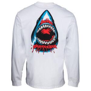 SANTA CRUZ – T-shirt Manica Lunga Uomo Speed Wheels Shark – Bianco